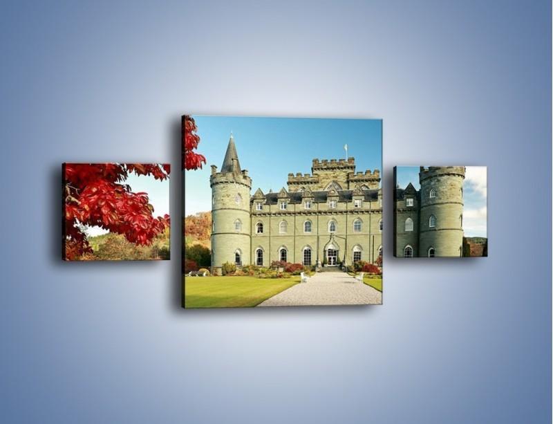Obraz na płótnie – Zamek Inveraray w Szkocji – trzyczęściowy AM691W4