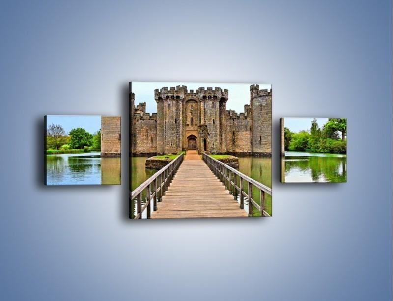 Obraz na płótnie – Zamek Bodiam w Wielkiej Brytanii – trzyczęściowy AM692W4