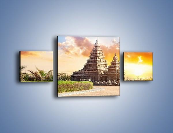 Obraz na płótnie – Świątynia Śiwy o zachodzie słońca – trzyczęściowy AM696W4