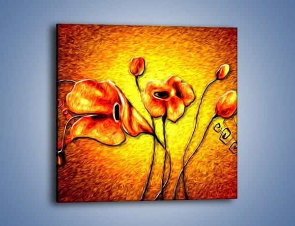 Obraz na płótnie – Kwiaty na płonącej tafli – jednoczęściowy kwadratowy GR558