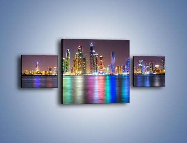 Obraz na płótnie – Kolorowe drapacze chmur w Dubaju – trzyczęściowy AM724W4