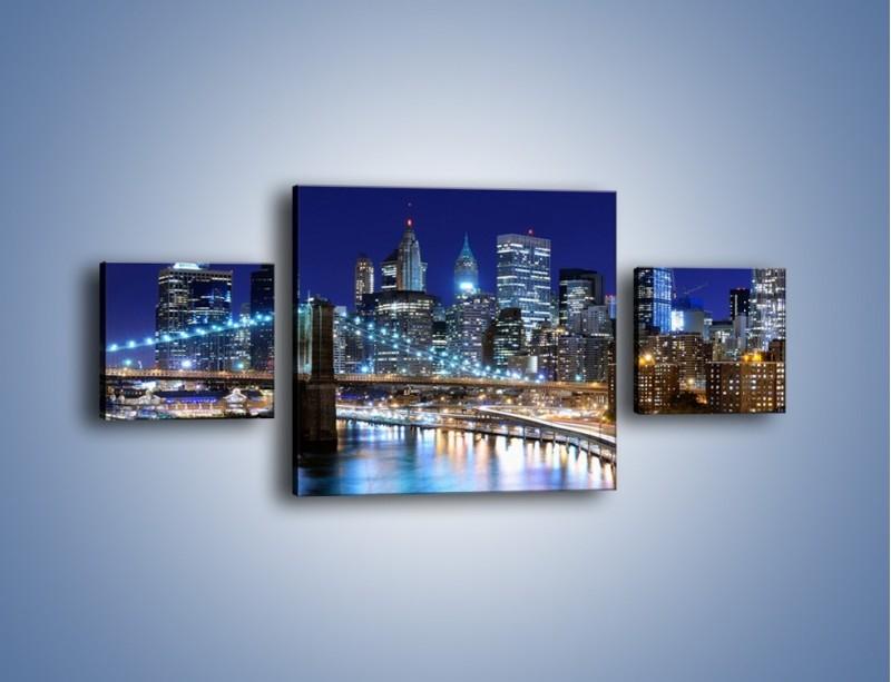 Obraz na płótnie – Nocne światła Nowego Yorku – trzyczęściowy AM726W4