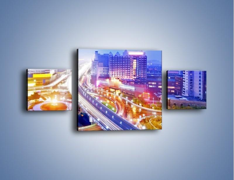 Obraz na płótnie – Rozświetlona miejska estakada – trzyczęściowy AM729W4