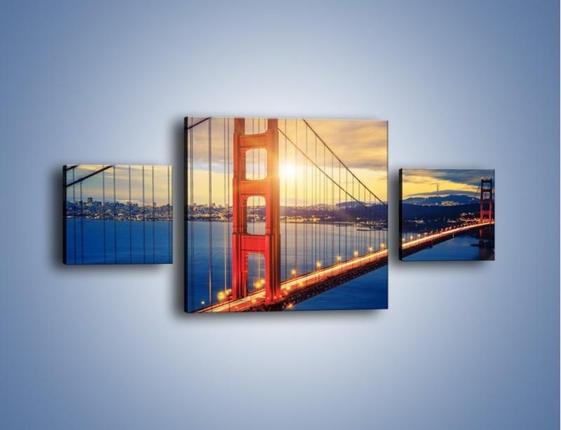 Obraz na płótnie – Zachód słońca nad Mostem Golden Gate – trzyczęściowy AM738W4