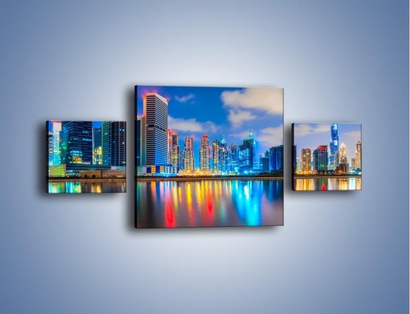 Obraz na płótnie – Kolory Dubaju odbite w wodzie – trzyczęściowy AM740W4