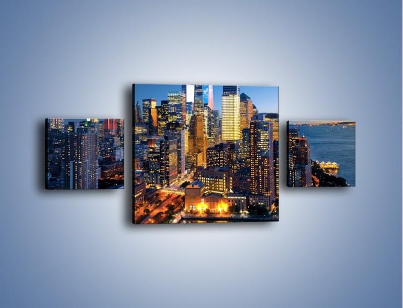 Obraz na płótnie – Zmierzch nad Manhattanem – trzyczęściowy AM749W4