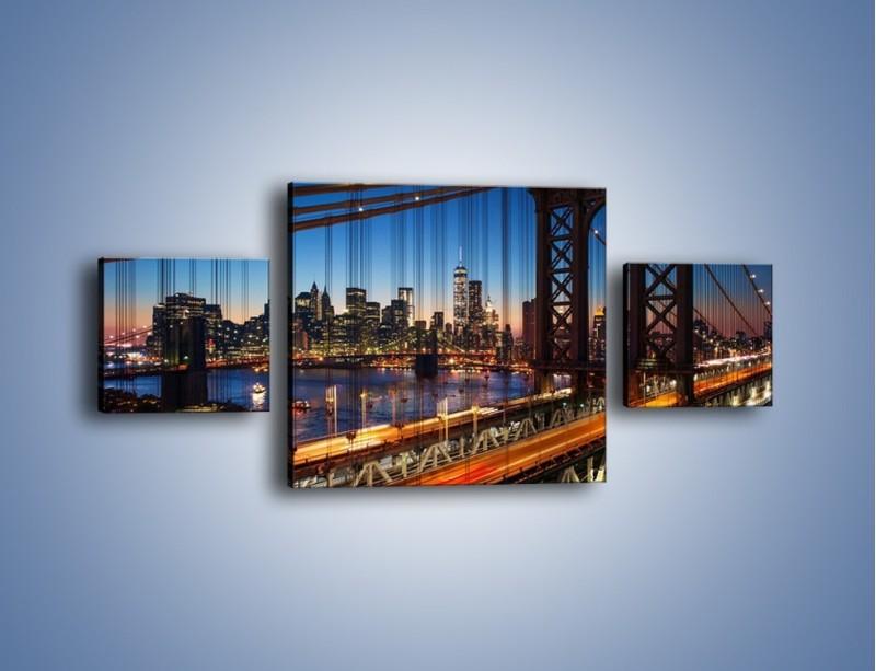 Obraz na płótnie – Nowojorskie mosty na tle Manhattanu – trzyczęściowy AM751W4