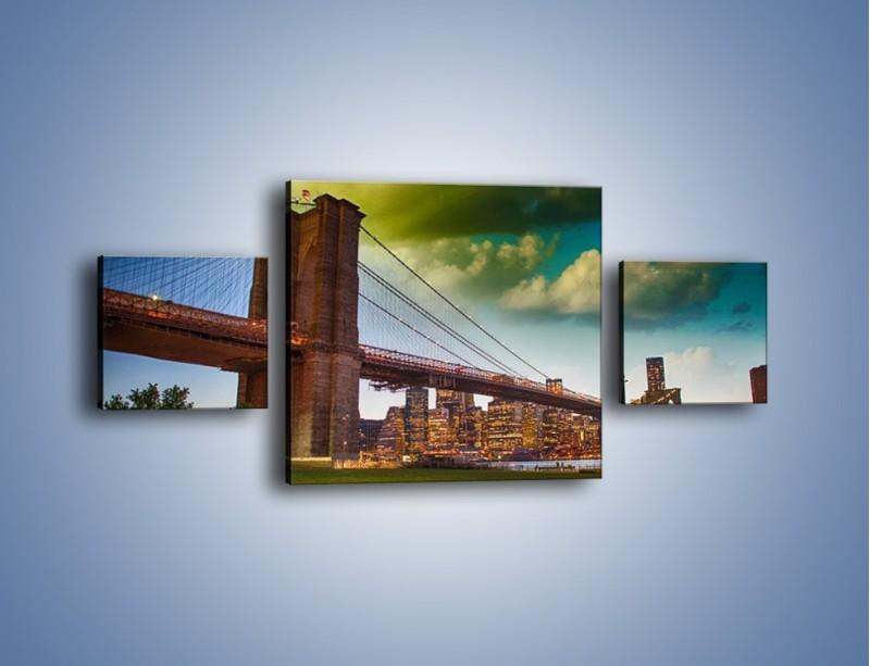 Obraz na płótnie – Most Brookliński pod pochmurnym niebem – trzyczęściowy AM752W4