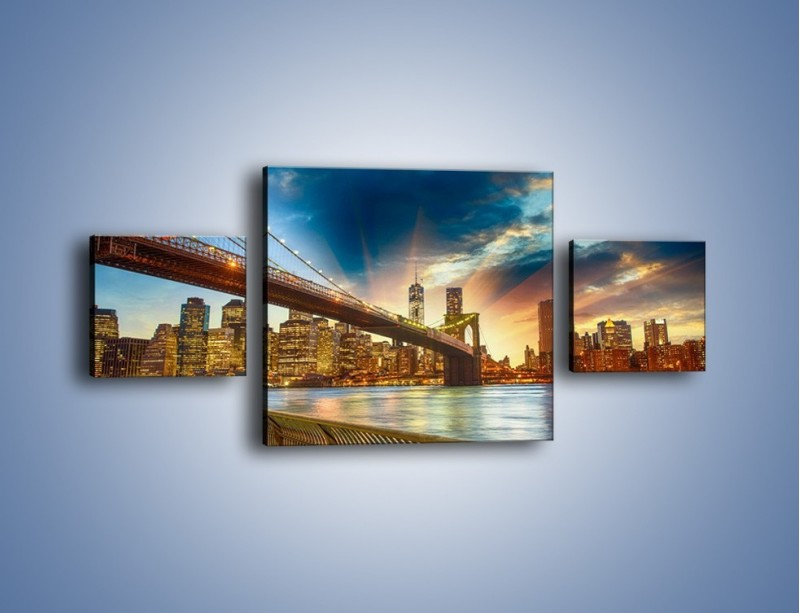 Obraz na płótnie – Most w Nowym Jorku o zmierzchu – trzyczęściowy AM754W4