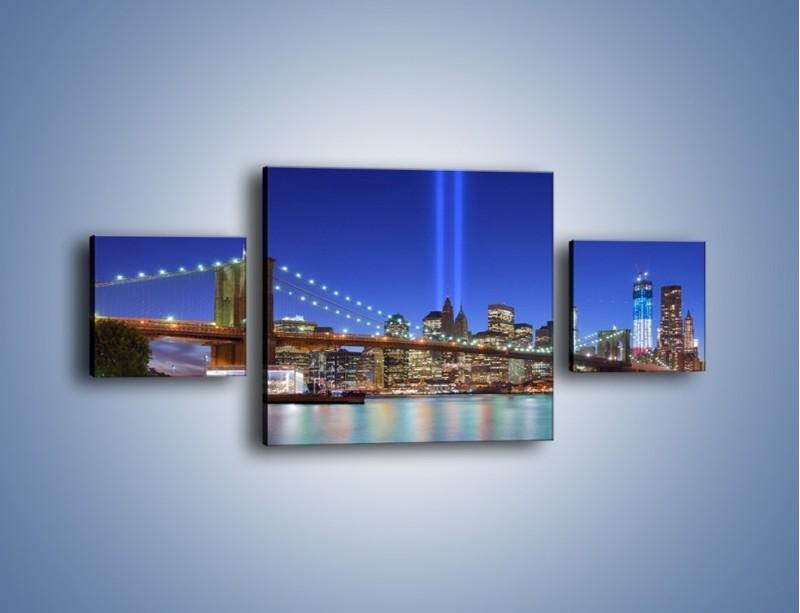 Obraz na płótnie – Świetlne kolumny w Nowym Jorku – trzyczęściowy AM757W4