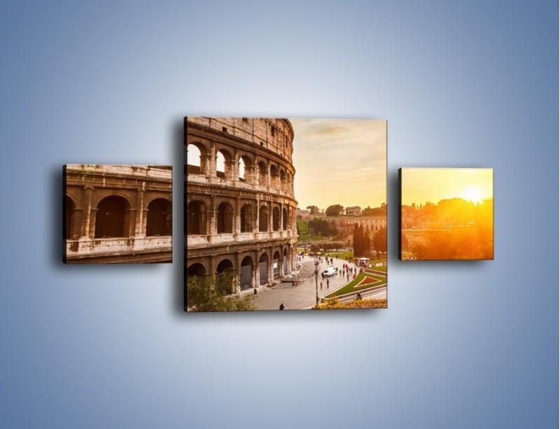 Obraz na płótnie – Zachód słońca nad Rzymem – trzyczęściowy AM763W4