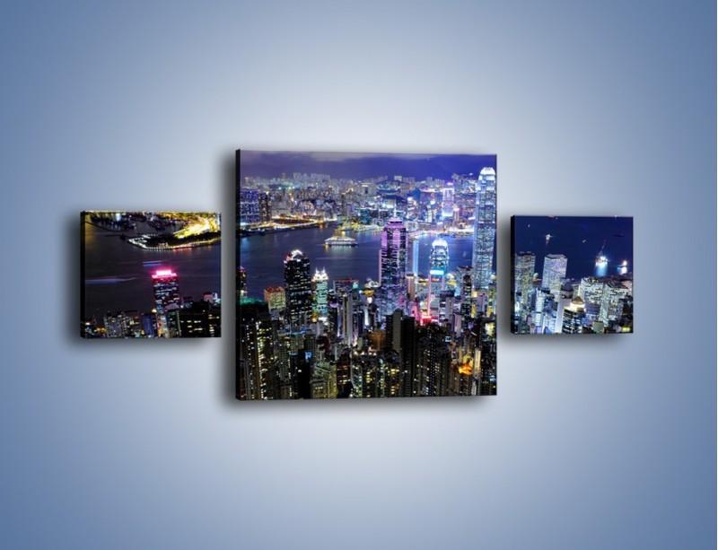 Obraz na płótnie – Nocna panorama Hong Kongu – trzyczęściowy AM772W4