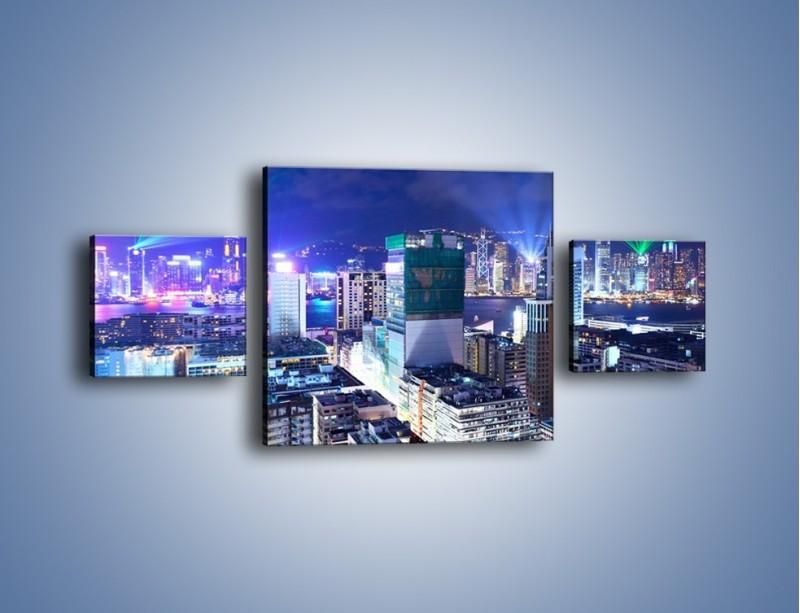 Obraz na płótnie – Pokaz laserów nad Hong Kongiem – trzyczęściowy AM796W4