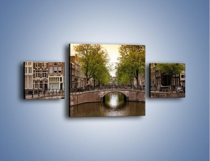 Obraz na płótnie – Amsterdamski kanał – trzyczęściowy AM800W4