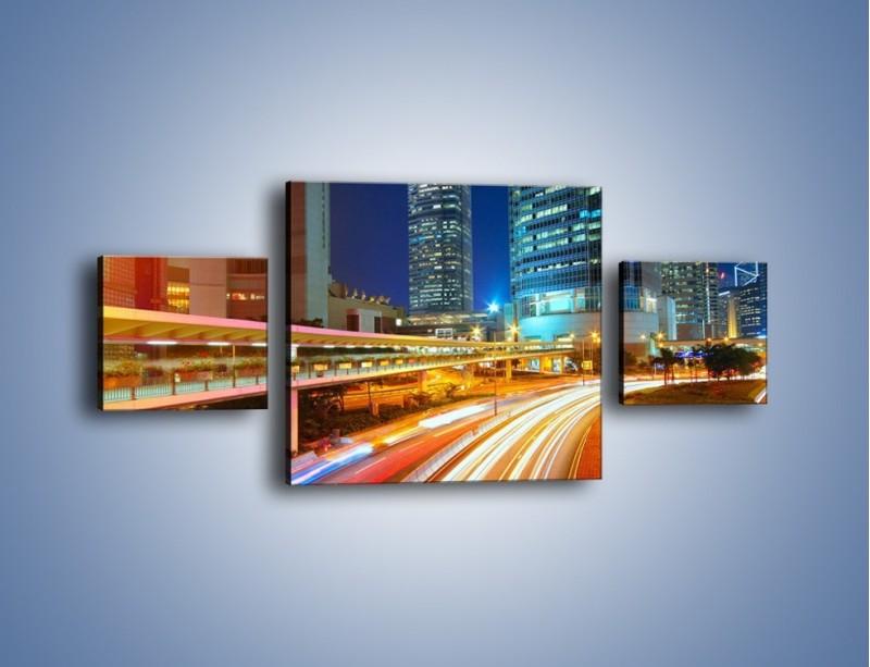 Obraz na płótnie – Nocne kolory miasta – trzyczęściowy AM808W4