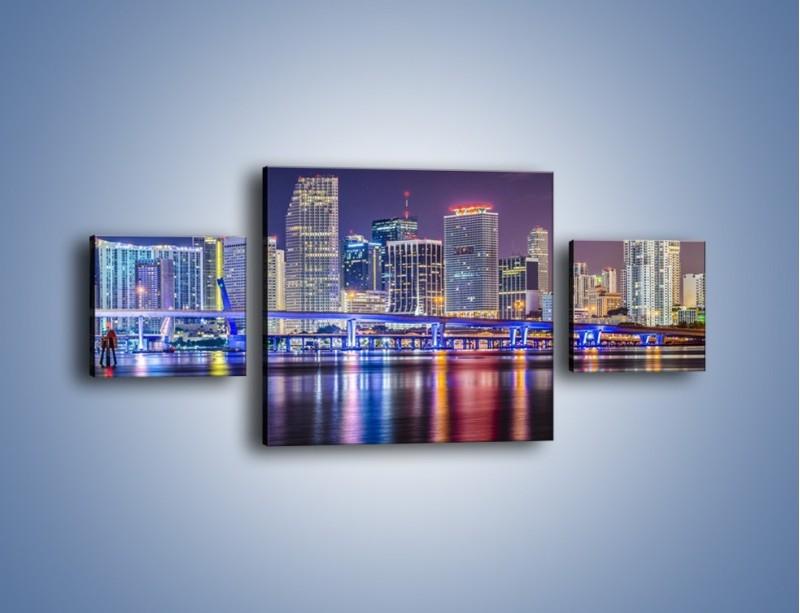 Obraz na płótnie – Światla Miami w odbiciu wód Biscayne Bay – trzyczęściowy AM813W4