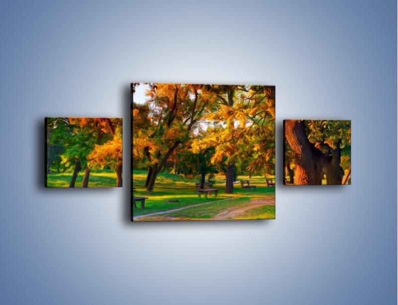 Obraz na płótnie – Ławeczka w parku – trzyczęściowy GR011W4