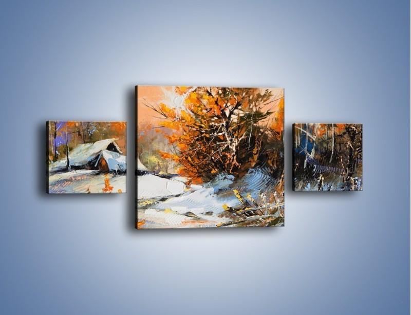 Obraz na płótnie – Zimowy klimat na wsi – trzyczęściowy GR027W4