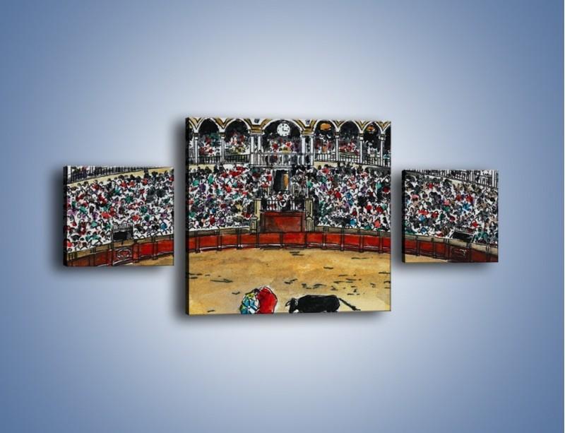 Obraz na płótnie – Walka torreadora z bykiem – trzyczęściowy GR040W4