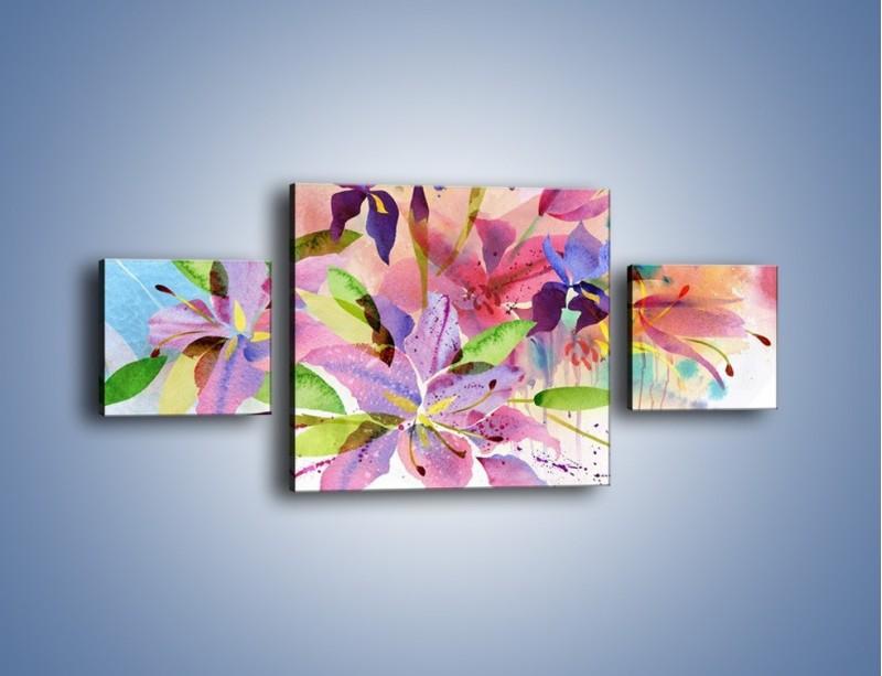 Obraz na płótnie – Kolory zachowane w kwiatach – trzyczęściowy GR043W4