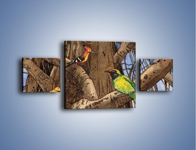Obraz na płótnie – Mali przyjaciele na drzewie – trzyczęściowy GR050W4