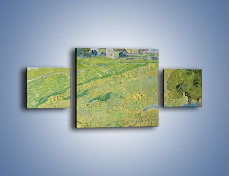 Obraz na płótnie – Łąka i małe domki – trzyczęściowy GR105W4