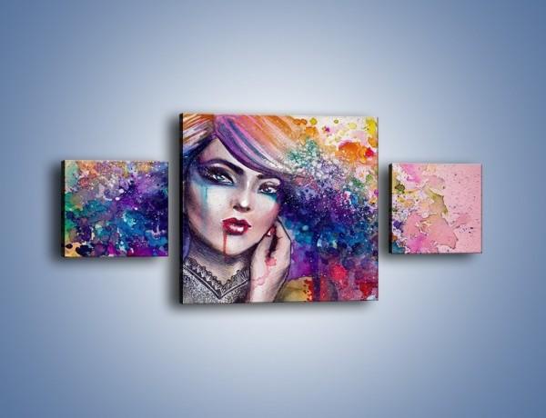 Obraz na płótnie – Kobieta z kolorowym przekazem – trzyczęściowy GR166W4