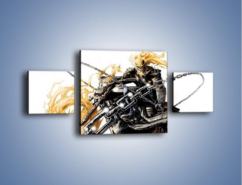 Obraz na płótnie – Mroczna postać na motorze – trzyczęściowy GR167W4