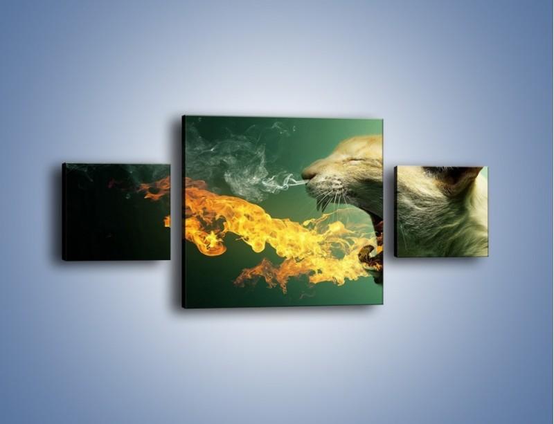 Obraz na płótnie – Kot z gorącym oddechem – trzyczęściowy GR180W4
