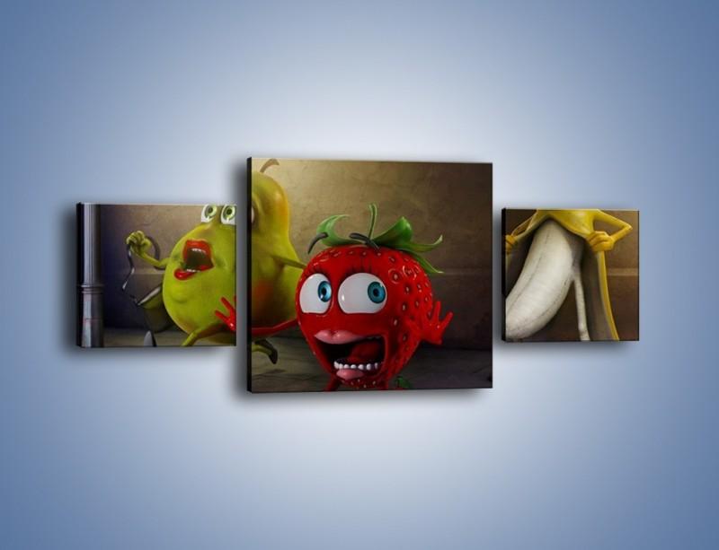 Obraz na płótnie – Strach w owocowych oczach – trzyczęściowy GR253W4