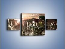 Obraz na płótnie – Domki nad przepaścią – trzyczęściowy GR283W4