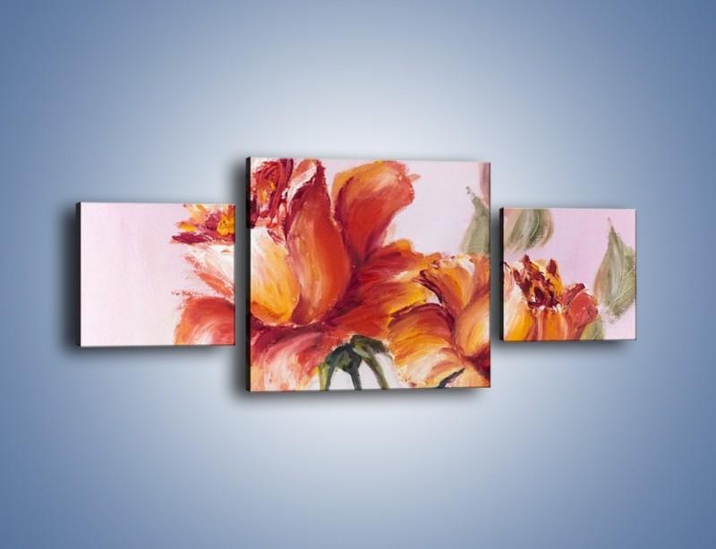 Obraz na płótnie – Kwiaty na płótnie malowane – trzyczęściowy GR322W4