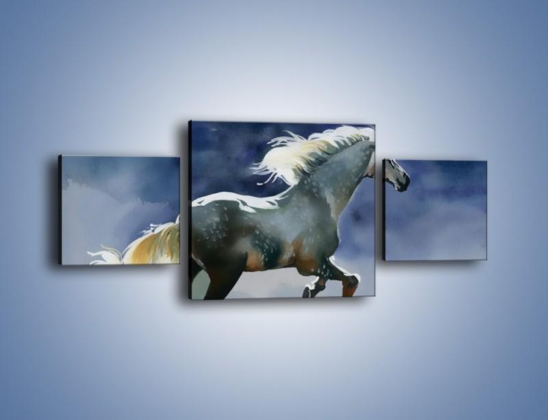 Obraz na płótnie – Bieg z koniem przez noc – trzyczęściowy GR339W4
