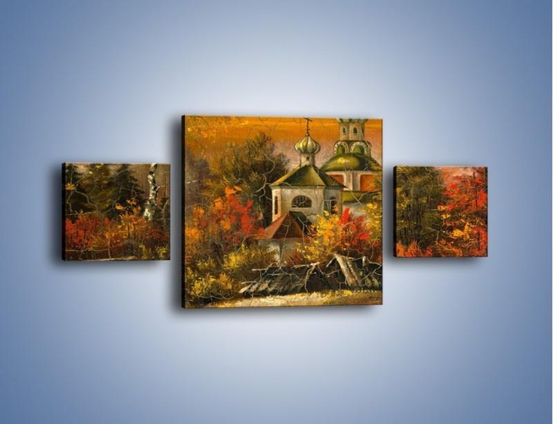 Obraz na płótnie – Kaplica późną jesienią – trzyczęściowy GR369W4