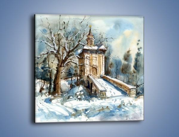 Obraz na płótnie – Zimowa porą przy kościółku – jednoczęściowy kwadratowy GR573
