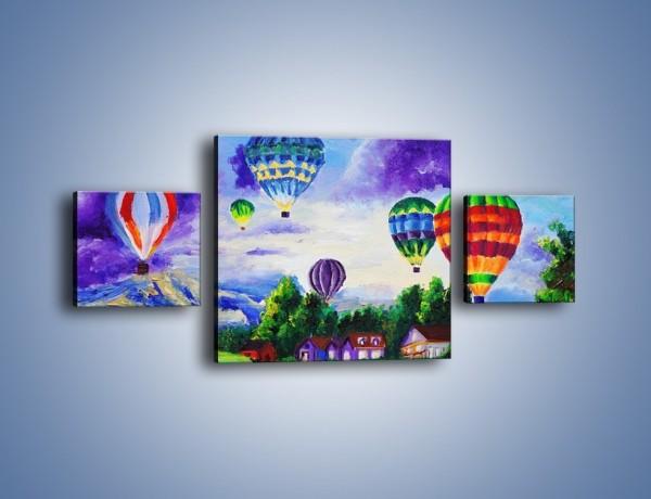 Obraz na płótnie – Lot kolorowym balonem – trzyczęściowy GR482W4