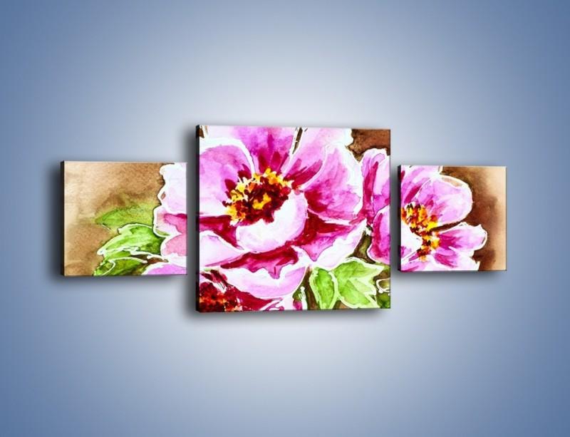 Obraz na płótnie – Rozwinięte gerbery na gałązce – trzyczęściowy GR568W4