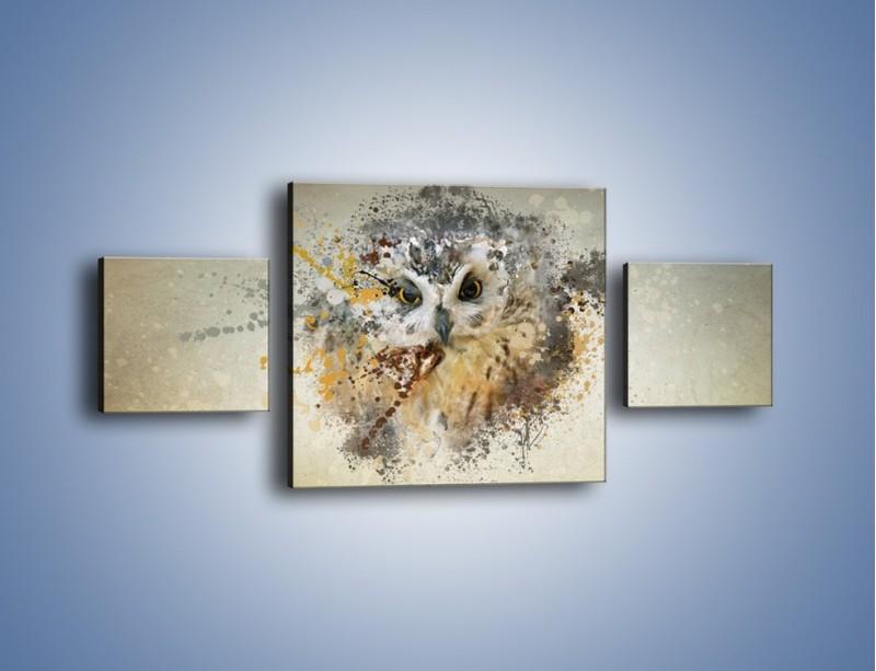 Obraz na płótnie – Czujne spojrzenie sowy – trzyczęściowy GR592W4