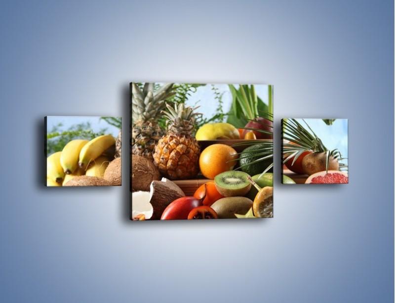 Obraz na płótnie – Mix owocowy na drewnianym stole – trzyczęściowy JN009W4