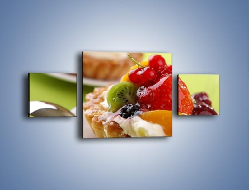Obraz na płótnie – Owocowe babeczki z kremem – trzyczęściowy JN021W4