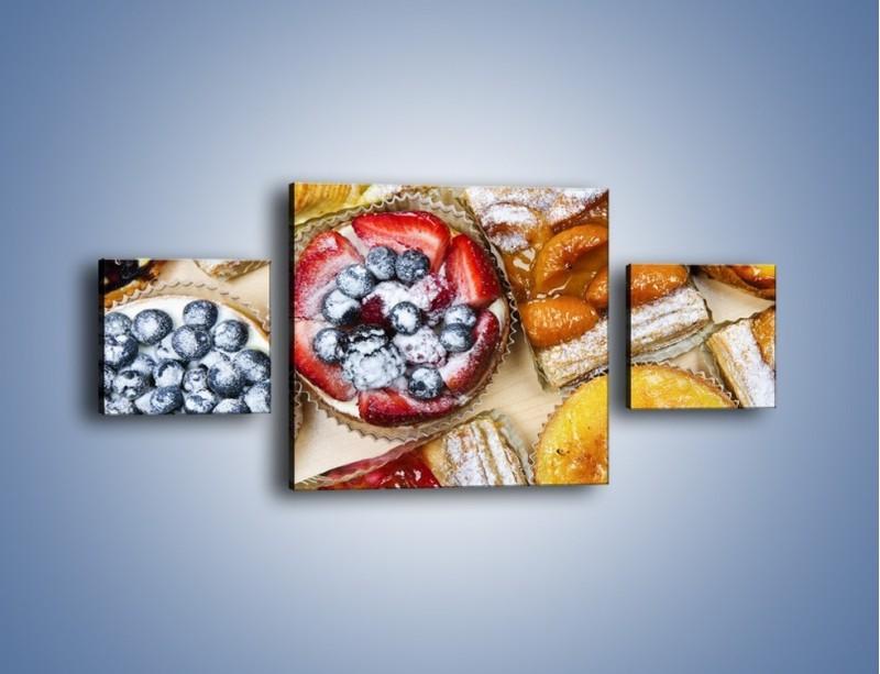 Obraz na płótnie – Kolorowe wypieki z dodatkiem owoców – trzyczęściowy JN032W4