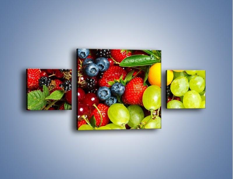 Obraz na płótnie – Wymieszane kolorowe owoce – trzyczęściowy JN037W4