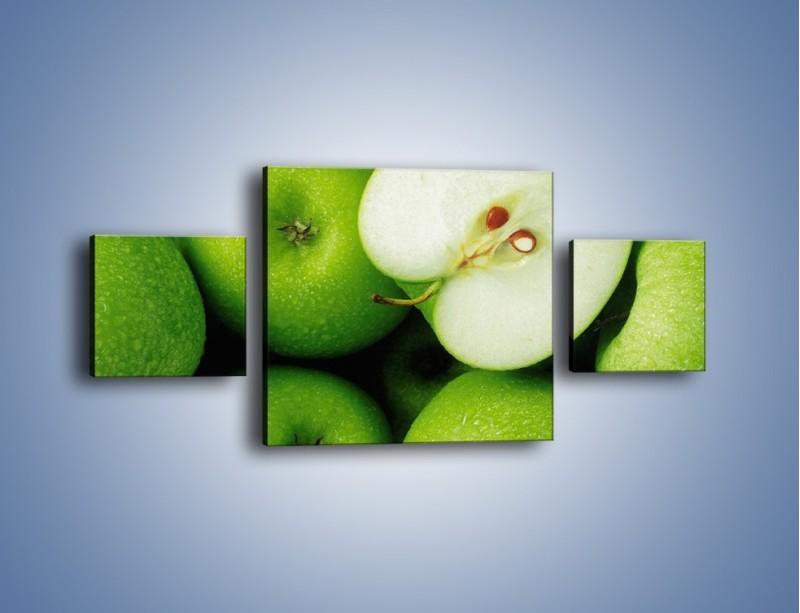Obraz na płótnie – Zielone jabłuszka – trzyczęściowy JN039W4