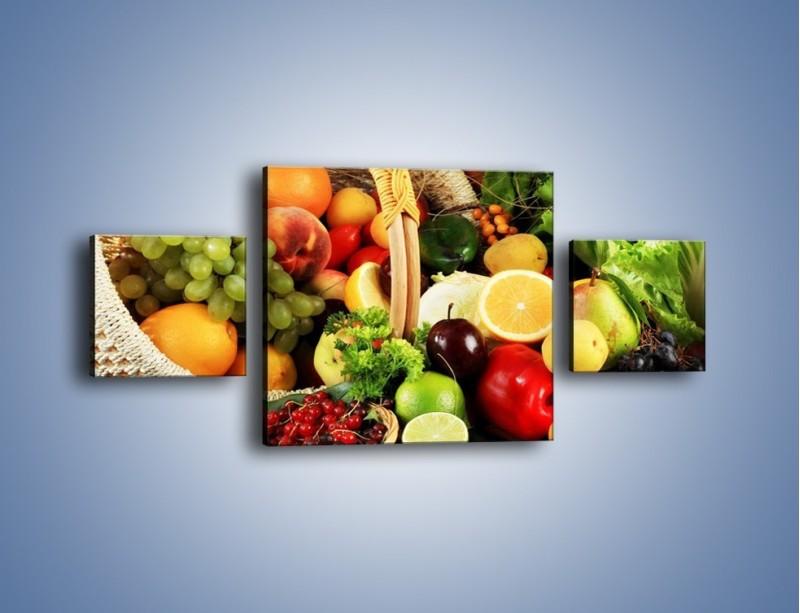 Obraz na płótnie – Kosz pełen owocowo-warzywnego zdrowia – trzyczęściowy JN059W4