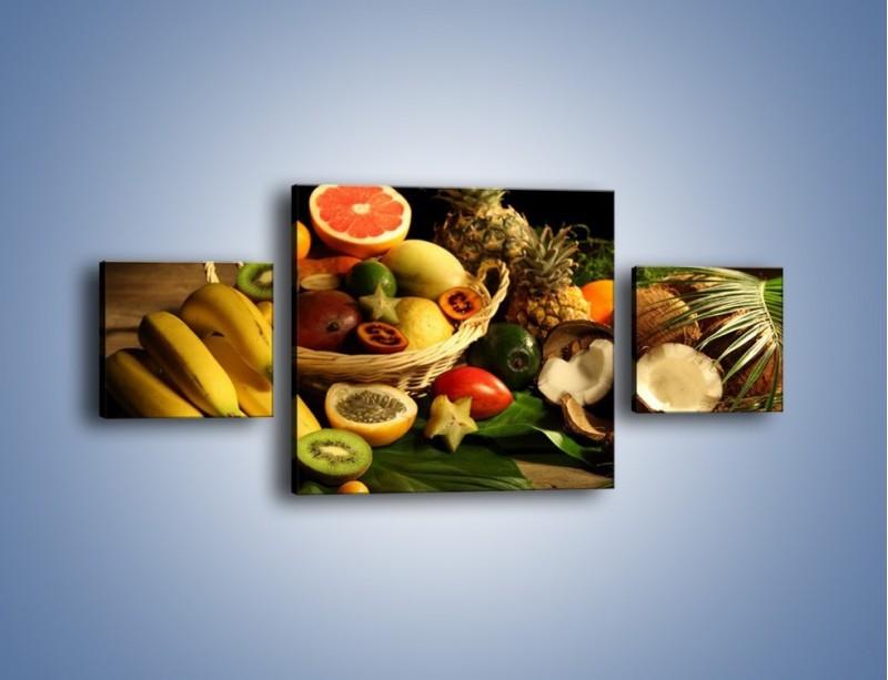 Obraz na płótnie – Kosz egzotycznych owoców – trzyczęściowy JN074W4