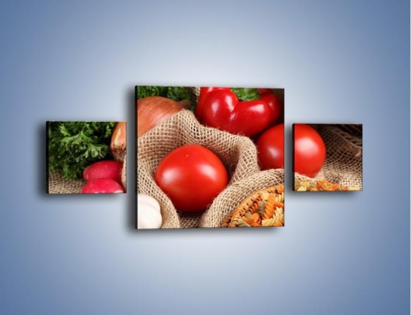 Obraz na płótnie – Makaron z warzywami – trzyczęściowy JN076W4