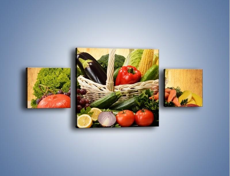 Obraz na płótnie – Kosz pełen warzywnych witamin – trzyczęściowy JN081W4