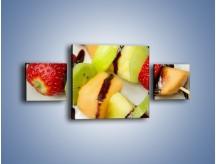 Obraz na płótnie – Czekoladowo-owocowe szaszłyki – trzyczęściowy JN112W4