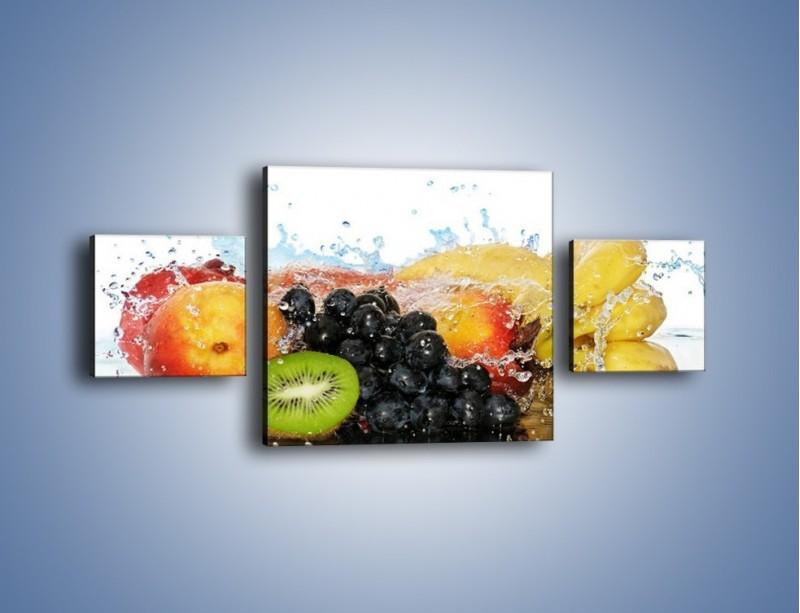 Obraz na płótnie – Owocowe nuty skąpane w wodzie – trzyczęściowy JN176W4