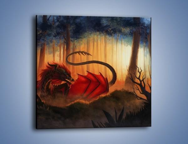 Obraz na płótnie – Smok w ciemnym lesie – jednoczęściowy kwadratowy GR580